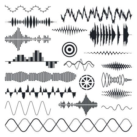 party dj: Las ondas de sonido Vector Set. Audio Ecualizador Tecnología, Pulso Musical. Ilustración vectorial Vectores