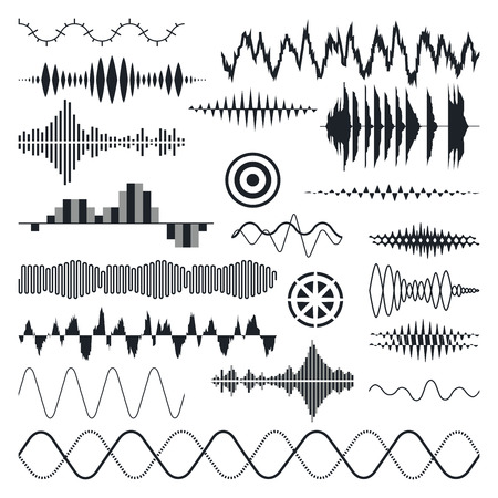 Vector Sound Waves Set. Audio Equalizer Technology Pulse Musical. Vector Illustratie