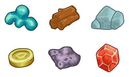 iron ore: Cartoon game  resources set: coin, stone, wood, crystal, nugget and mucus