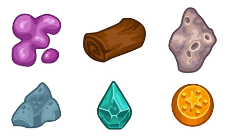 brushwood: Cartoon game  resources set: coin, stone, wood, crystal, nugget and mucus