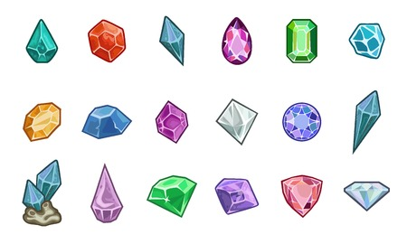 Cartoon vector gems and diamonds