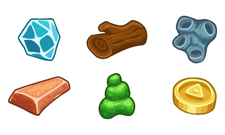 slime: Cartoon game  resources set: coin, stone, wood, crystal, nugget and mucus