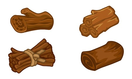 sliced tree: Wooden resources for games icons vector set