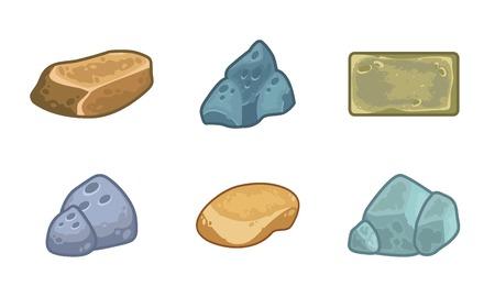 minerals: Cartoon stones and minerals set Illustration