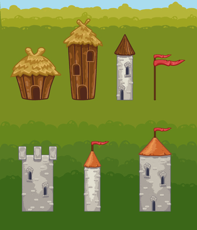 Castles and fortresses vector icons