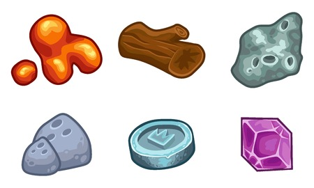 mucus: Cartoon game  resources set: coin, stone, wood, crystal, nugget and mucus