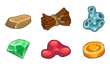 Cartoon game  resources set: coin, stone, wood, crystal, nugget and mucus