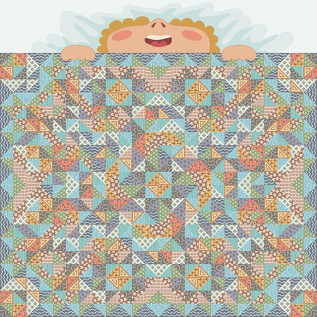 Kid coverd with patchwork blanket. Illustration