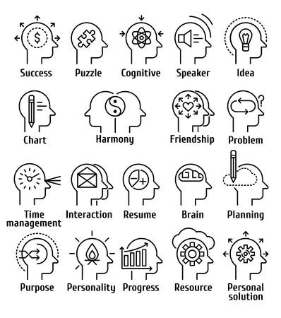 Stroke linia piktogram ikony zestaw ludzki mózg pracy, uczuć i emocji. Ilustracje wektorowe