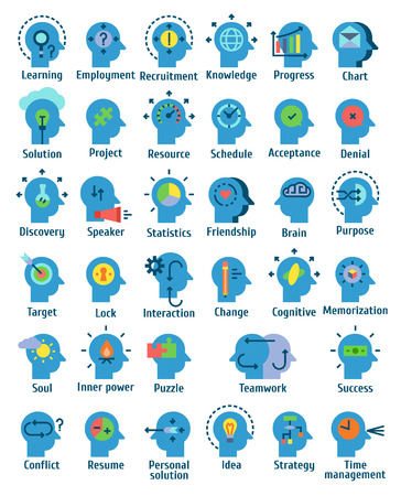 Flat pictogram icons set of human brain working, feelings and emotions. Ilustrace