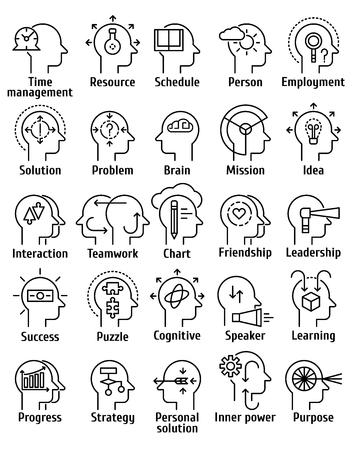cerebro humano: Accidente cerebrovascular iconos línea pictograma conjunto de recursos humanos del cerebro de trabajo, sentimientos y emociones.