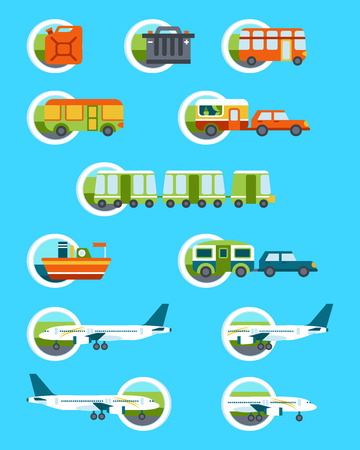 airplane landing: Travel illustration with different transportation types Illustration