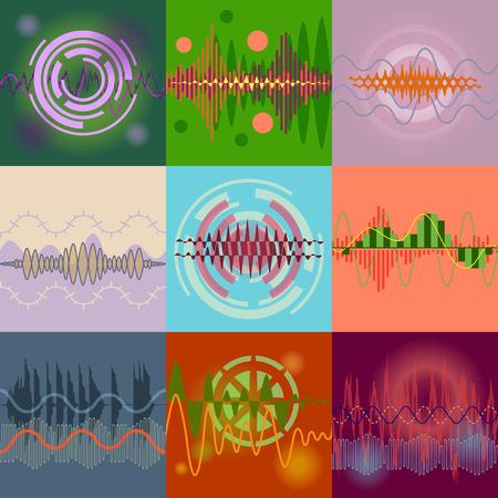 analyzer: Sound Waves Set. Audio Equalizer Technology, Pulse Musical. Illustration