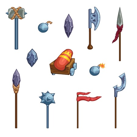 ballad: Game weapon icons set. Ax, hammer, crown, cannon, kernel, flag, spear, halberd, club.
