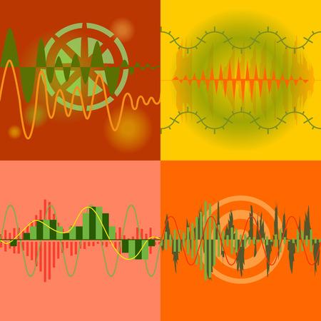 soundtrack: Sound Waves Set. Audio Equalizer Technology, Pulse Musical. Illustration