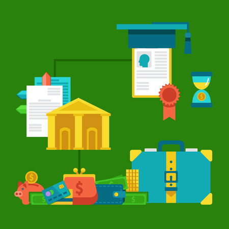 investing: Flat concepts for investing in education concept - stack of coins, diploma and university hat