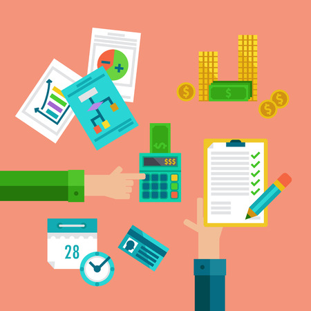 Flat concepts for taxes, finance, bookkeeping and accounting. Ilustrace