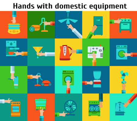 Set of hands with domestic equipment