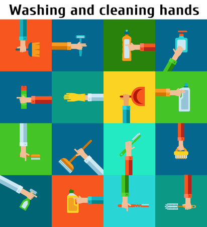 Set of cleaning hands Ilustrace