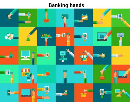 Set of banking hands
