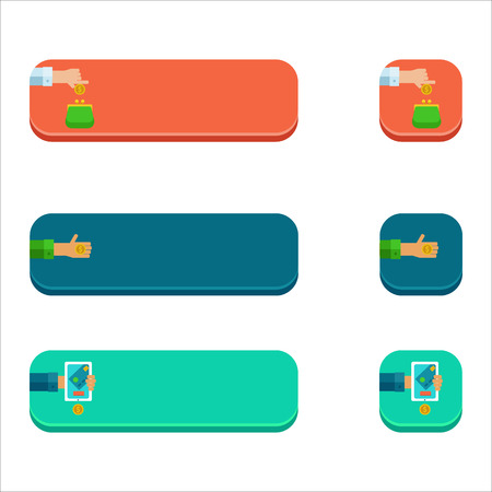 Set of flat buttons with people paying concepts.