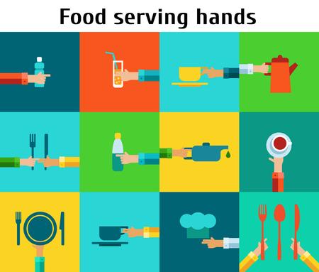 Set with serving food hands Ilustrace
