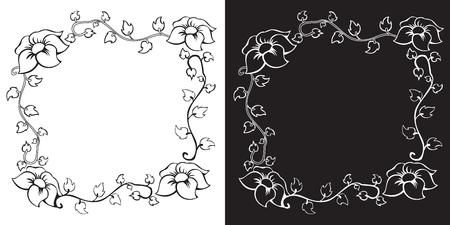 Vector sketched vintage floral border