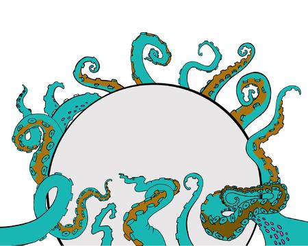 Vector sketch cartoon octopus tentacles Ilustrace