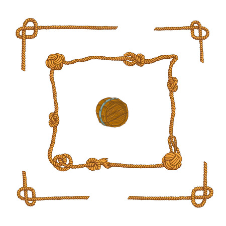 Marine rope frames and knots isolated vector set