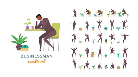 Vector businessman suit des poses décontractées dans un style plat. Pleine longueur, gestes, émotions, vue avant, latérale, arrière.