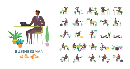 Vector businessman suit casual poses set in flat style. Full length, gestures, emotions, front, side, back view. Ilustrace