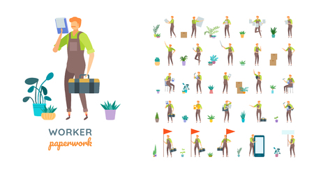 Vector young adult man in worker overalls casual poses set in flat style. Full length, gestures, emotions, front, side, back view.