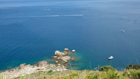 Zingaro Nature Reserve, Province of Trapani, Sicily. View of the Tyrrhenian Sea, from one of the many cliffs that exist in the reserve.