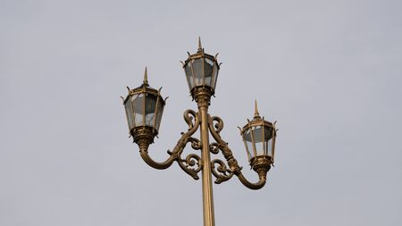 Recoleta neighbourhood, Buenos Aires, Argentina. Beautiful lamp in Alvear Square, at the city downtown.