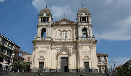 Zafferana Etnea town, Province of Catania, Sicily. Fachade of the exterior of the Cathedral Church, consecrated to Madonna della Provvidenza (Our lady of Providence), the comune patron saint. Banco de Imagens