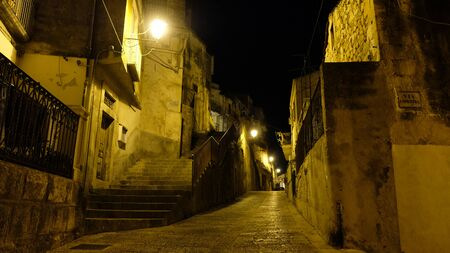 Town of Scicli, commune of Scicli, province of Ragusa, Sicily. Beautiful summer nights to walk in the alleys of the town.