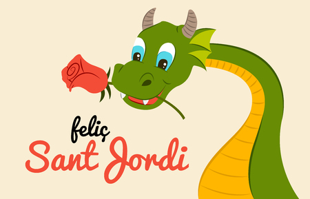 Sant Jordi - Dragon with rose - Tradition Catalunya