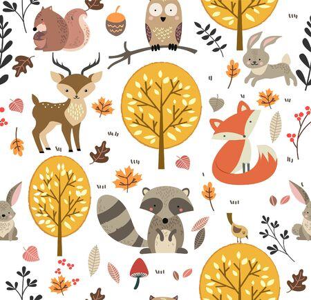 Ilustración de vector de fondo de patrones sin fisuras de animales del bosque