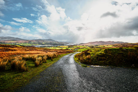 lightrays: View over the beautiful landscapes and nature of Donegal in Ireland on a sunny day