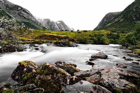 Beautiful nature spot with river, stones and pasture in a valley surrounded by snow capped mountains. Colorful houses are standing on green grass. Located between Geiranger and Bergen in Norway. Stock fotó