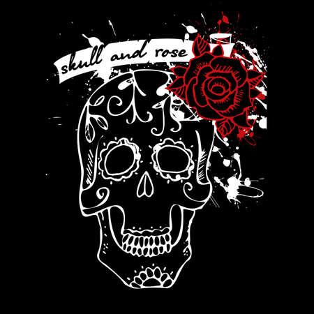 dia de muerto: Tatuaje del cr�neo y la rosa