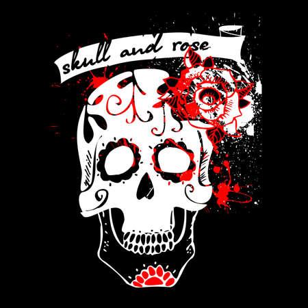 Tattoo skull and rose white Vector