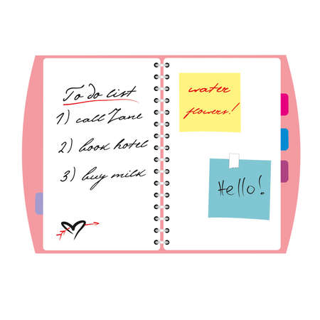 girl s noteboock and to do list Stock Vector - 13592996