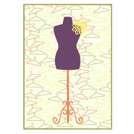 coathanger: Coat-hanger and mannequin set with flower decoration