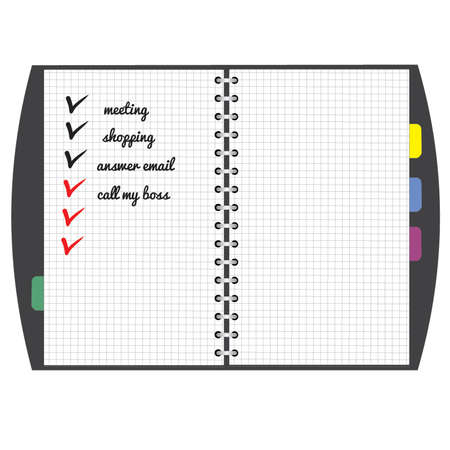 Black personal organizer with notes