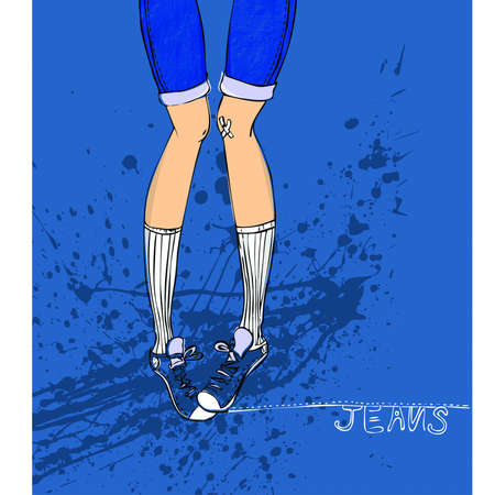 knee sock: female shorts and sneakers illustration