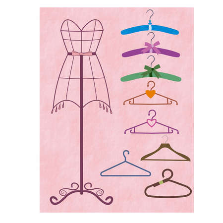 coathanger: Coat-hanger and mannequin set Illustration