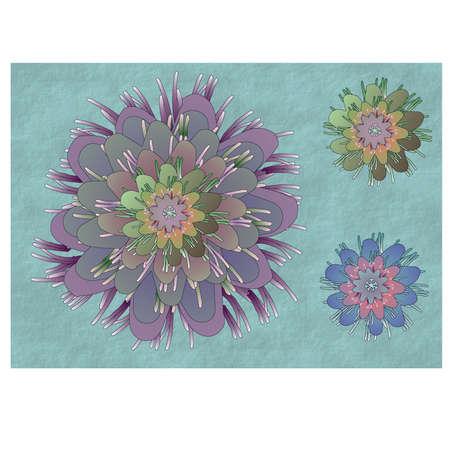 Colourful exotic style flowers background Illustration