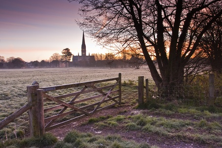 A frosty morning on the water meadows of Salisbury photo