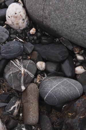 Rocks on The Strangles beach in north Cornwall. photo